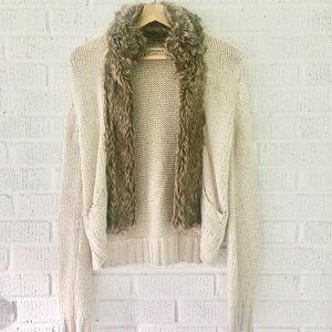 Zara knit cardigan with faux fur trim
